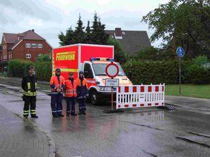 Die Straßensperre in Timmerhorn.