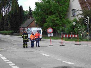 Die dritte Straßensperre Alte Landstraße / Am Bargfeld.