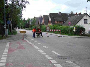 Die zweite Straßensperre Alte Landstraße / Hasselbusch.