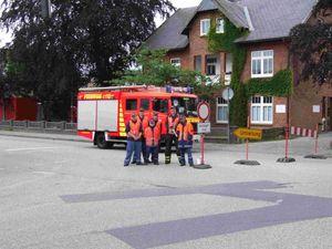 Die erste Straßensperre Alte Landstraße / Jesbeker Straße.